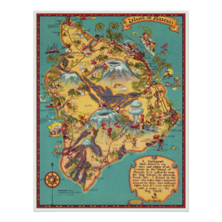 Vintage Map of the Island of Hawaii Poster