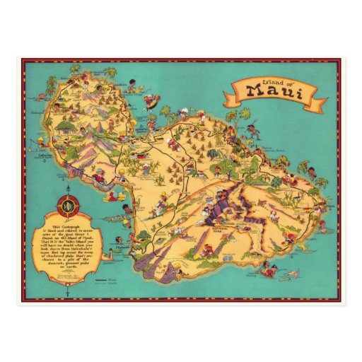 Vintage Map of the Island of Maui Post Cards