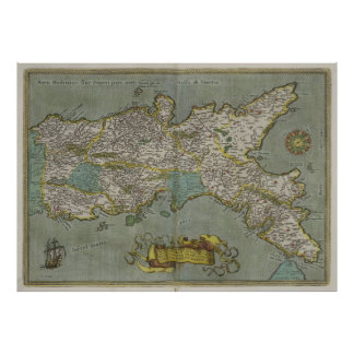 Vintage Map of The Kingdom of Naples (1608) Poster