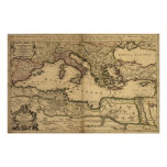 Vintage Map of The Mediterranean Sea (1685) Poster