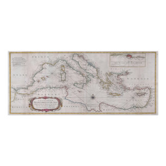Vintage Map of The Mediterranean Sea (1745) Poster