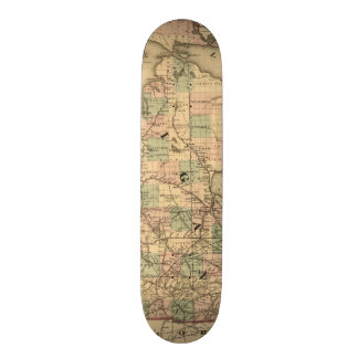 Vintage Map of The Michigan Railroads (1876) Skate Board Deck