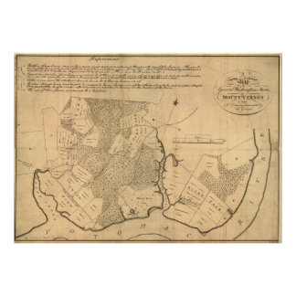 Vintage Map of The Mount Vernon Plantation (1801) Poster