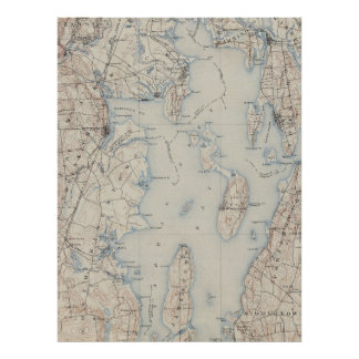 Vintage Map of The Narragansett Bay (1888) Poster