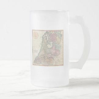 Vintage Map of the Netherlands (1799) Frosted Glass Beer Mug