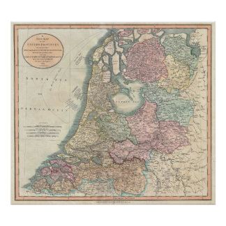 Vintage Map of the Netherlands (1799) Poster