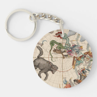 Vintage Map of the North Pole Keychain