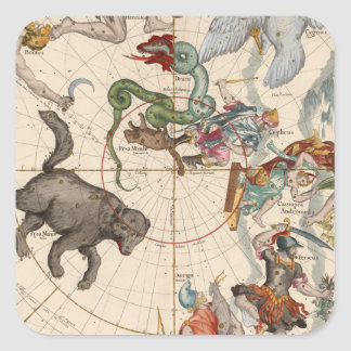 Vintage Map of the North Pole Square Sticker