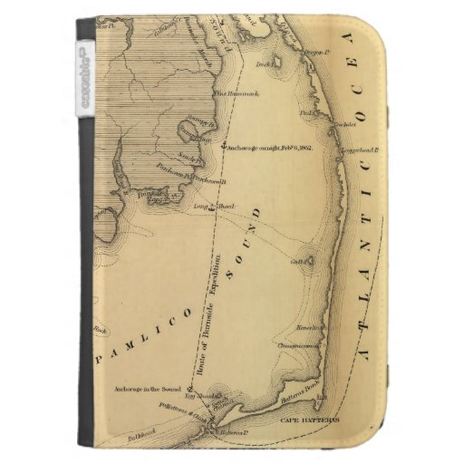 Vintage Map of The Outer Banks (1862) Kindle Covers