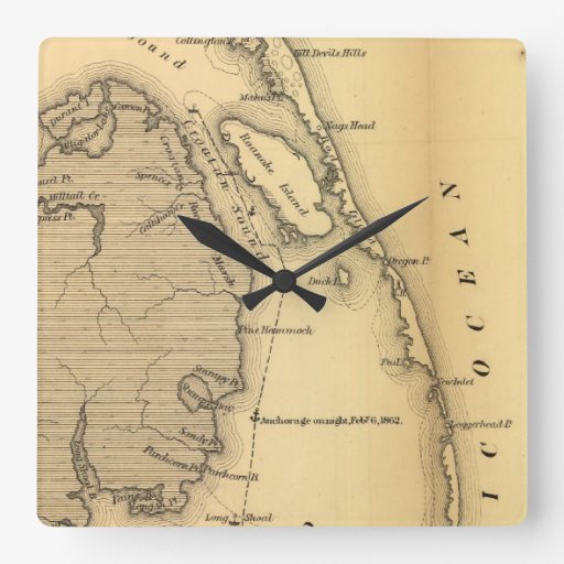 Vintage Map of The Outer Banks (1862) Wall Clock