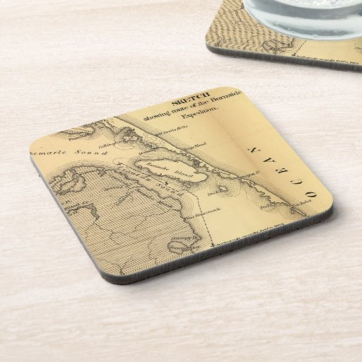 Vintage Map of The Outer Banks (1862) Drink Coaster