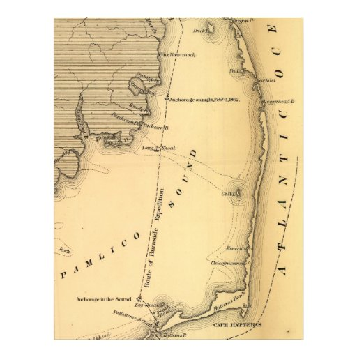 Vintage Map of The Outer Banks (1862) Letterhead Design