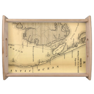 Vintage Map of The Outer Banks 1862 Serving Platters