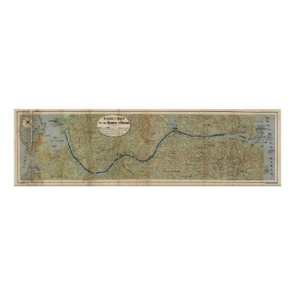 Vintage Map of The Panama Canal (1886) Poster