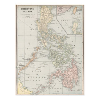 Vintage Map of The Philippine Islands (1901) Postcard