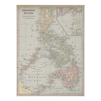 Vintage Map of The Philippine Islands (1901) Poster