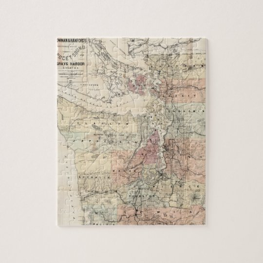 Vintage Map of The Puget Sound (1891) Jigsaw Puzzle