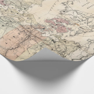 Vintage Map of The Puget Sound (1891) Wrapping Paper