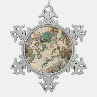Vintage Map of the South Pole Snowflake Pewter Christmas Ornament