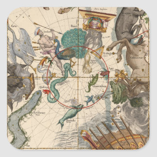 Vintage Map of the South Pole Square Sticker