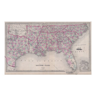 Vintage Map of The Southern United States (1868) Poster