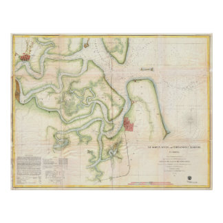 Vintage Map of The St Marys River - FL/GA (1857) Poster