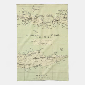Vintage Map of The Virgin Islands (1853) Hand Towels
