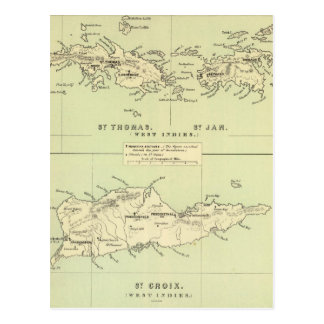 Vintage Map of The Virgin Islands (1853) Postcard