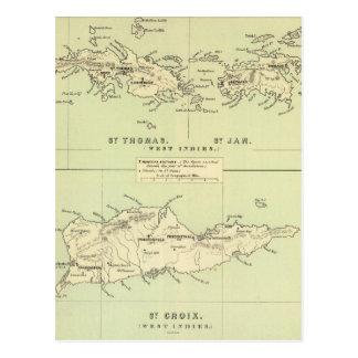 Vintage Map of The Virgin Islands (1853) Postcard