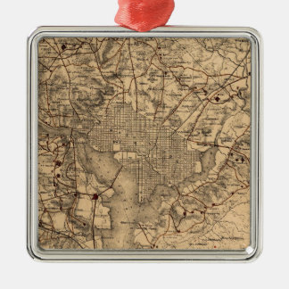 Vintage Map of The Washington DC Area (1865) Silver-Colored Square Ornament