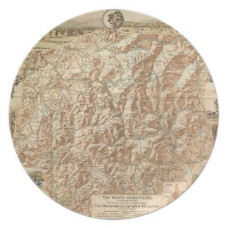 Vintage Map of The White Mountains (1937) Dinner Plate