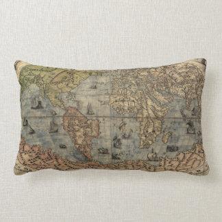 Vintage Map of The World (1565) Lumbar Pillow