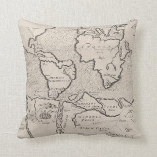 Vintage Map of The World (1607) Throw Pillow
