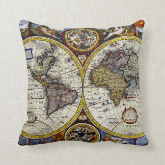Vintage Map of The World (1626) - Stylized Throw Pillow