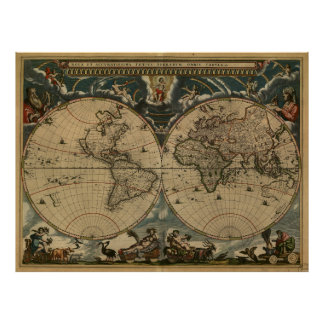Vintage Map of The World (1664) Poster