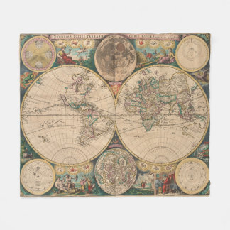 Vintage Map of The World (1672) 2 Fleece Blanket