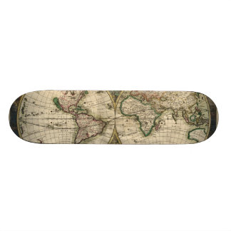 Vintage Map of The World 1689 Custom Skate Board