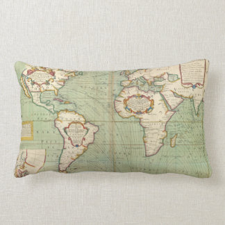 Vintage Map of The World (1702) Lumbar Pillow
