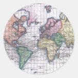 Vintage Map of The World (1780) Round Sticker