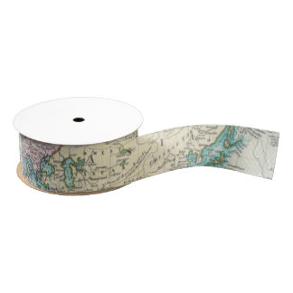 Vintage Map of The World (1801) Grosgrain Ribbon