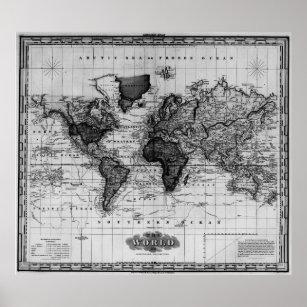 Black White Vintage World Map Gifts On Zazzle CA - Black and white vintage world map