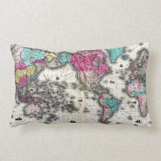Vintage Map of The World (1852) - Stylized Lumbar Pillow