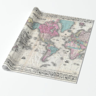 Vintage Map of The World (1852) Wrapping Paper