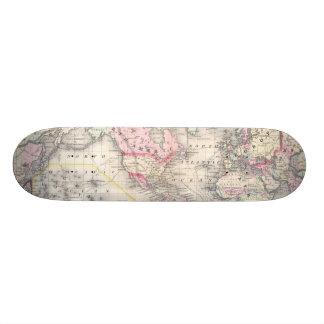 Vintage Map of The World 1864 Custom Skateboard