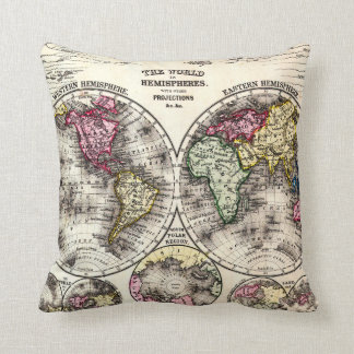 Vintage Map of The World (1864) - Stylized Throw Pillow