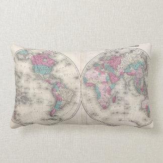Vintage Map of The World (1866) Lumbar Pillow
