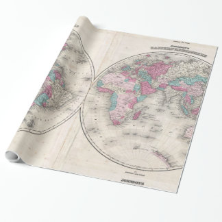 Vintage Map of The World (1866) Wrapping Paper
