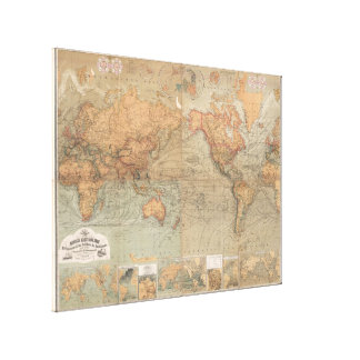 Vintage Map of The World (1870) Canvas Print