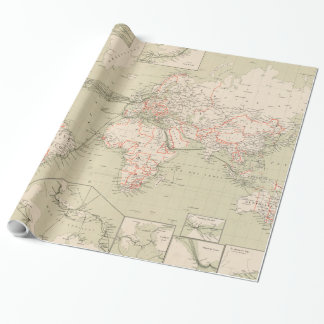 Vintage Map of The World (1898) Wrapping Paper