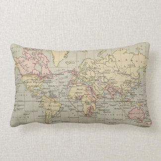 Vintage Map of The World (1914) Lumbar Pillow